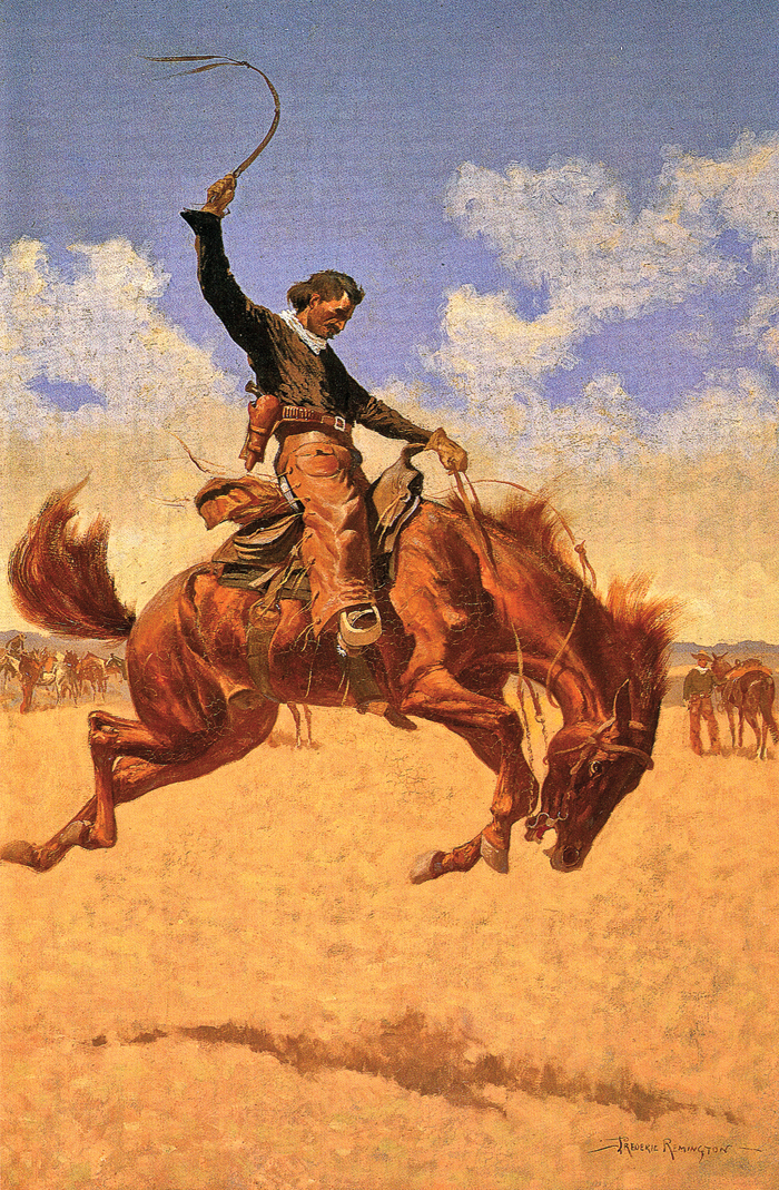 Frederic Remington Known internationally for his illustrations and paintings of the American cowboy, Remington's circa 1893 oil on canvas, A Buck-Jumper, captures the powerful energy of both the rider and the horse the New York artist witnessed on his tours of working ranches across the West. – Courtesy Eiteljorg Museum of American Indians and Western Art, Indianapolis, Indiana (2015.8.20) crcr#01633 –