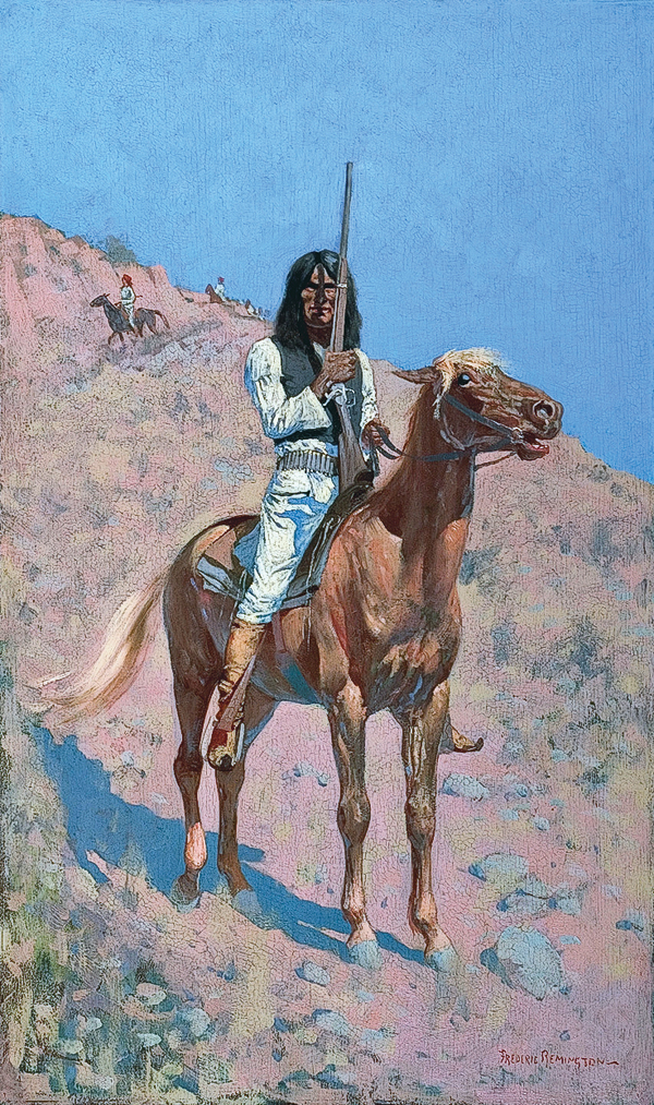 Frederic Remington Remington spent many of his formative years as an artist in the Southwest, including the final years of the Apache Wars in the 1880s as a contract illustrator for Harper's Weekly. His 1891 oil on panel, An Apache, (above) reflects his personal experiences and his theme of painting portraits of men at war mounted on horseback. – Private collection. Image courtesy Coeur d'Alene Art Auction, Hayden, Idaho crcr#01210 –