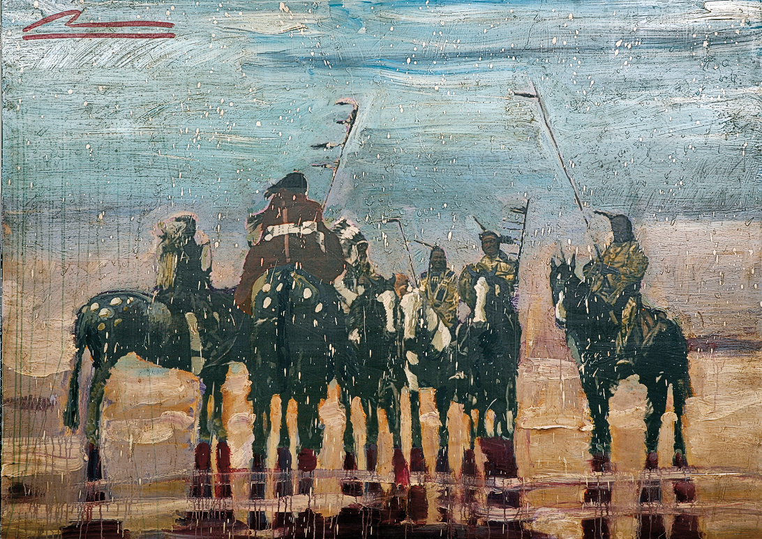 "Mateo Romero Contemporary Pueblo painter Mateo Romero was raised in Berkley, California, but today lives with his family at Pojoaque Pueblo in New Mexico. According to Romero, his 2008 mixed media on wood masterpiece War Music II reflects ""timeless, archaic elements of Pueblo culture."" – Courtesy Autry Museum of the American West, Purchase made possible by Jackie and Gene Autry Los Angeles; 2008.34.1 –"