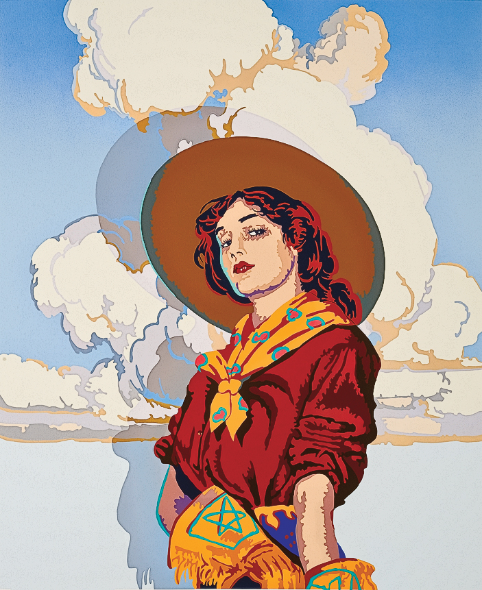 Bill Schenck Bill Schenck's 1996 serigraph Gone with the Gunsmoke combines his unique Western pop art style with a vibrant palette of colors that binds him to the Western master illustrator-artists who have defined the art form since Frederic Remington's first illustration in 1886. – Courtesy Tucson Museum of Art, Gift of the artist in honor of Rick Small, Jr., 38/78, 2011.6.1, Tucson, Arizona –