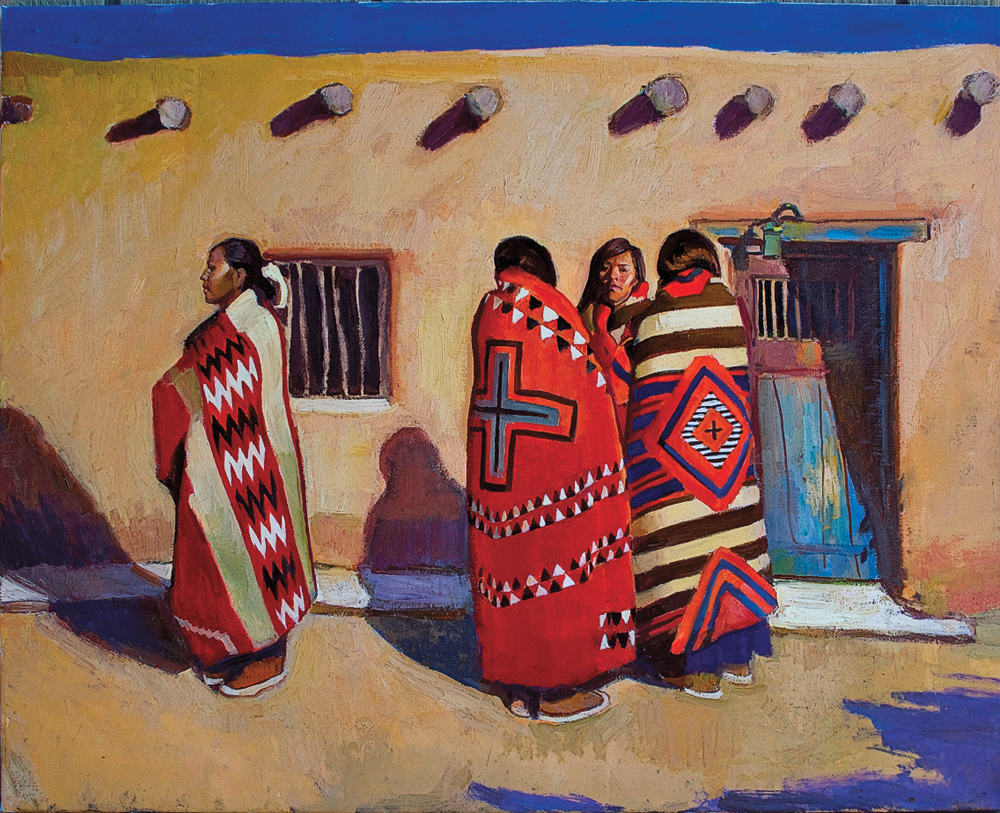 Ray Roberts California artist Ray Roberts, finds inspiration for his art from the Pacific Coast to the Southwest. The Conversation, an oil painting on linen, reflects the influence of a century of master artists who sought inspiration from the Pueblo people of New Mexico. – Courtesy The Mission Gallery, St. George, Utah –