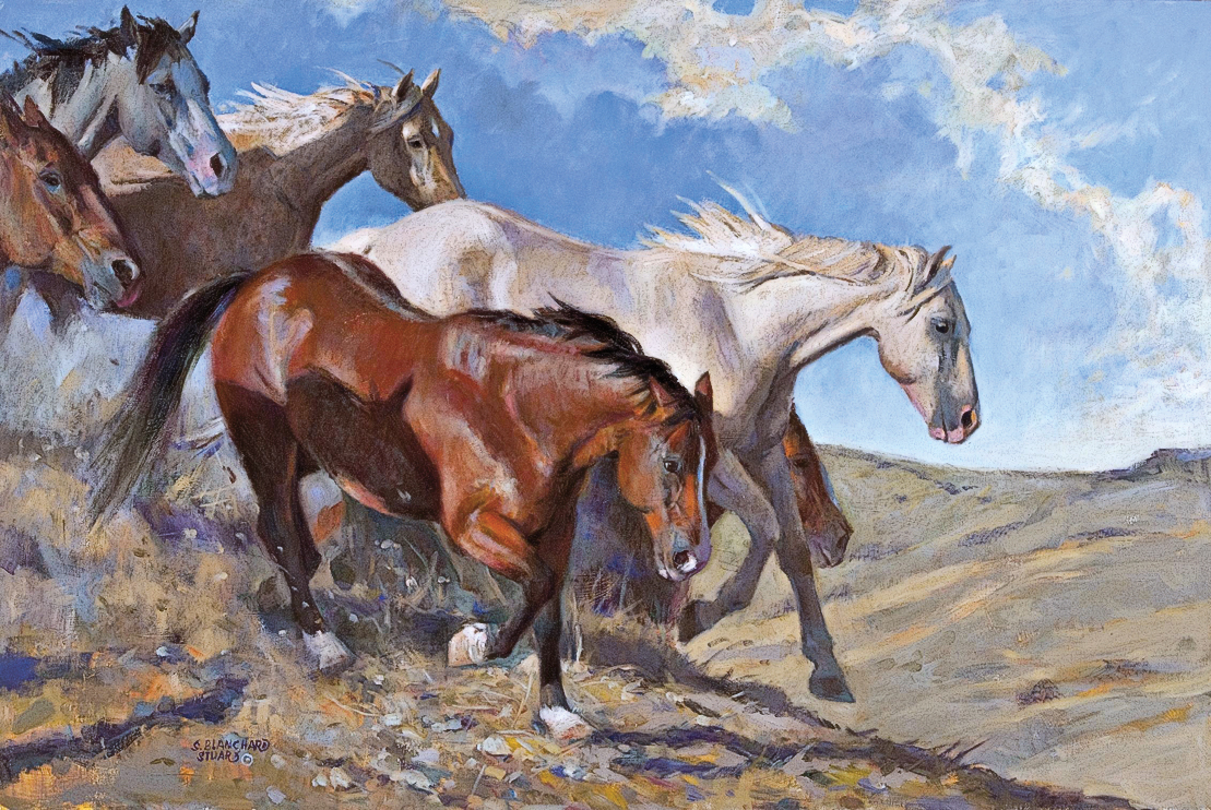 "Sherry Blanchard Stuart Arizona artist Sherry Blanchard Stuart, known for her landscapes, cowboy, Indian and equine paintings, says the ""history and tradition of the American West inspires much of her work."" Her generational ties to Remington's equestrian artistry can be seen in her Western oil on linen Downhill Run. – Courtesy Open Range Gallery, Scottsdale, Arizona –"