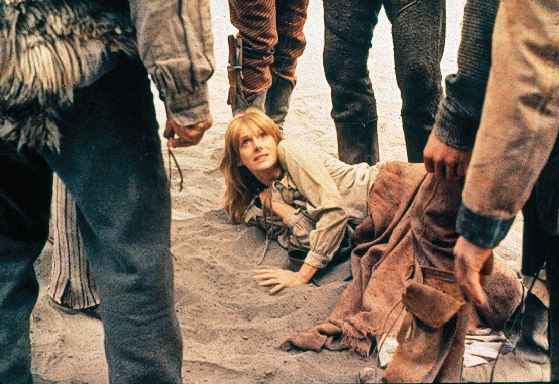 Sondra Locke (center) played the romantic interest to Clint Eastwood in both the film and in real life. The actors met while filming The Outlaw Josey Wales and stayed together until 1989. She made six films with Eastwood, including the 1980 Western Bronco Billy.