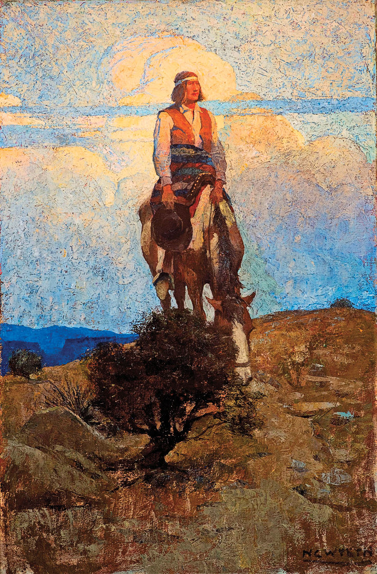 CTW_262-He-Rode-Away,-Following-a-Dim-Trail-Among-the-Sage-(1909)-by-N.C.-Wyeth-(1882-1945)