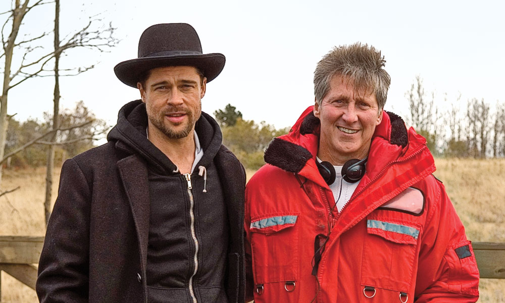 WHHTM-lead_Ron-Hansen-and-Brad-Pitt-on-set-of-The-Assassination-of-Jesse-James-by-the-Coward-Robert-Ford_scaled