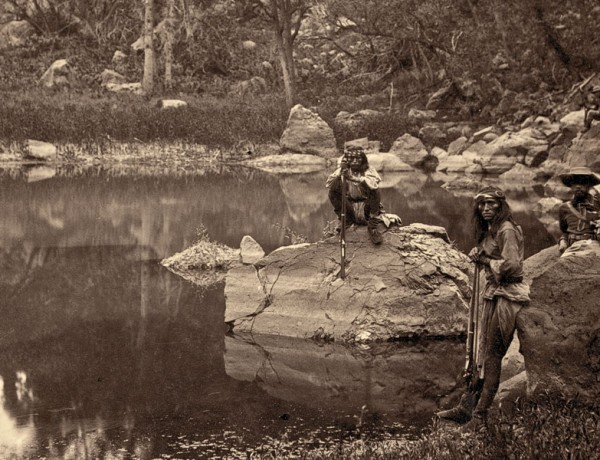 BOW_Books_LEAD_View-on-Apache-Lake,-Sierra-Blanca-Range,-Arizona.-Two-Apache-scouts-in-the-foreground--1873--T.-H