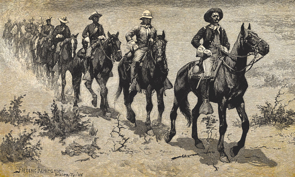Lead_Saddle-pards_The-Century-magazine-published-Frederic-Remingtons-Marching-on-the-Desert