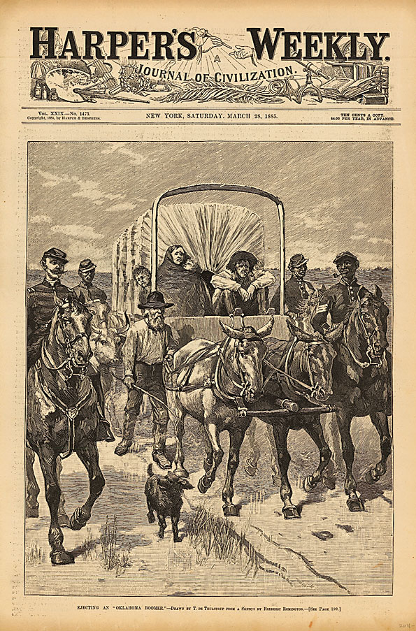 OI_Artist-Frederic-Remington-made-this-comic-sketch_Ejecting-an-Oklahoma-Boomer_which-appeared-on-the-front-cover-of-Harpers-Weekly-edition_March-28_1885