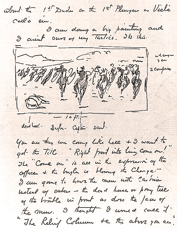 Remington's inquiry (left) to Clarke indicates the artist's sincere efforts to depict U.S. Cavalry formations accurately as illustrated in his 1895 pen and ink of General Miles and his Escort (above). – True West Archives –
