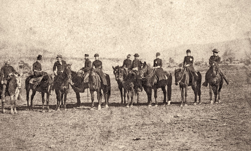 """Clarke (inset) was not all work and no play. As Remington once mused, his """"pard"""" was quite funny and enjoyed social gatherings with fellow officers and the ladies of the garrison as in this 1891 Christmas morning ride at Fort Apache, Arizona Territory. This faded candid image recently resurfaced after more than 120 years. – Courtesy George M. Langellier, Jr. –"""