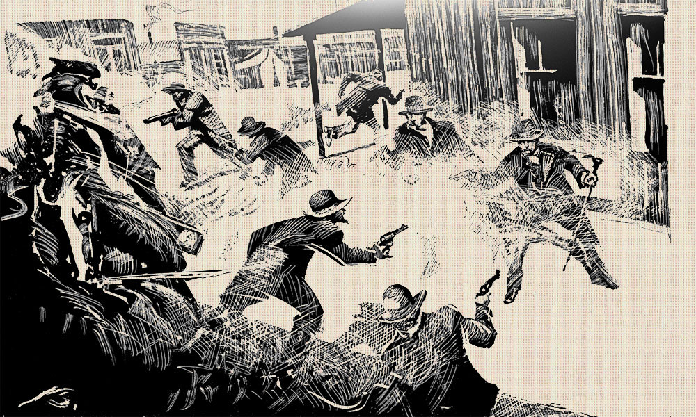 Illustration of the O.K. Corral shootout by Bob Boze Bell
