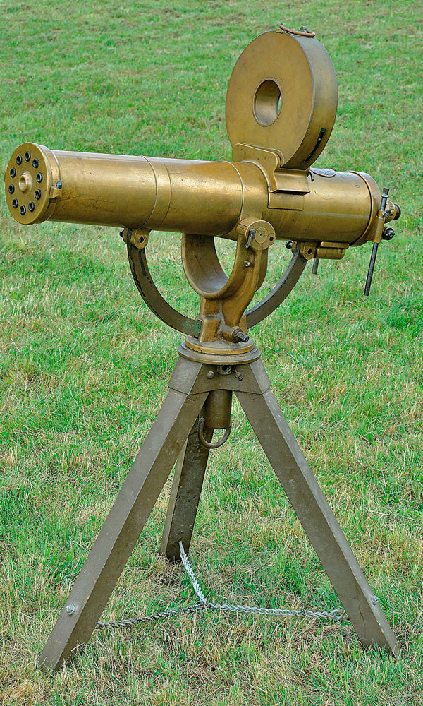 1883 Gatling Gun World Record A collector successfully bid $280,000 at James D. Julia for this Colt Model 1883 U.S. Navy Gatling Gun on tripod. It saw service on the Miantonomoh warship in 1885.
