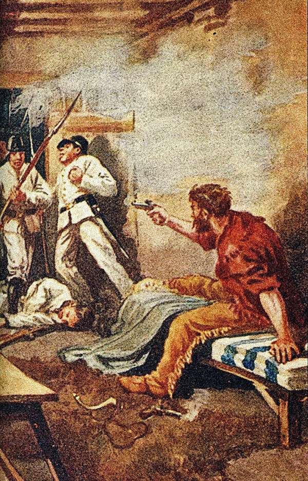 James Bowie fighting from his sickbed looks to be a popular death scenario theory around the turn of the 20th century. The color illustration by Charles H. Stephens was published in 1898's The Lost Gold of the Montezumas: A Story of the Alamo by William O. Stoddard. The black-and-white illustration by Louis Betts appeared in the January 1902 McClure's Magazine. – Stephens art Courtesy J.B. Lippincott Company; Betts art courtesy Paul Andrew Hutton –
