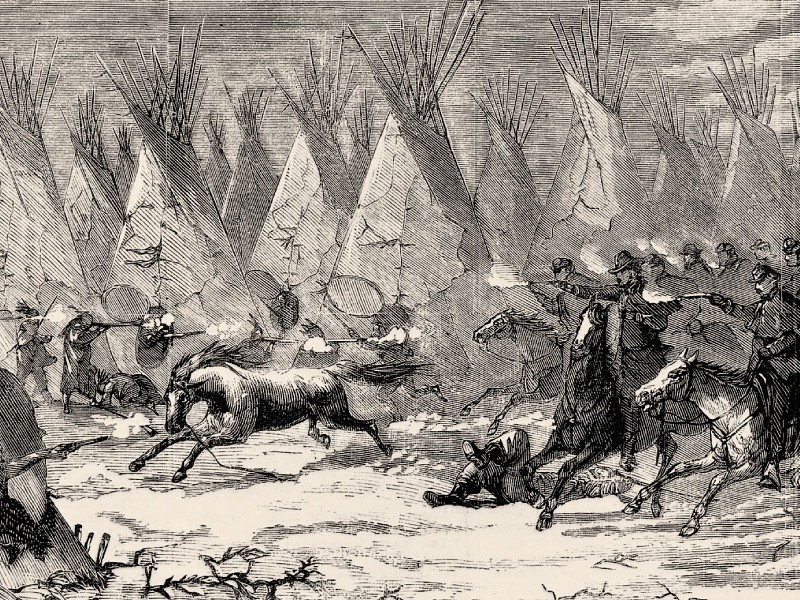 Samuel J. Crawford (above) organized the 19th Kansas Volunteer Cavalry to respond to Indian depravations that escalated in 1868. The volunteers hoped to engage in combat with tribes, like the 7th Cavalry did, shown charging into Black Kettle's village at daylight on November 27 in this Harper's Weekly illustration published on December 19. They instead learned another way to win a war. – Illustration Courtesy Library of Congress;  ALL OTHER PHOTOS TRUE WEST ARCHIVES –