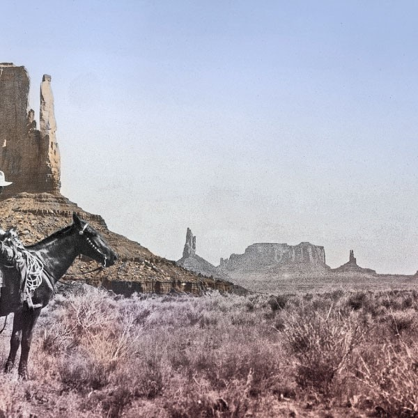The famous purple sage of Western lore is made more dramatic by the red sandstone spires that dot Monument Valley, where Zane Grey rides below. His lyrical descriptions of this majestic site remind one of an Ed Mell painting, for example, Red Rock Cloud Drift (inset), which is why Arizona Opera chose to partner with the artist to present the visuals for its grand interpretation of Zane's Riders of the Purple Sage novel.   – All Zane Grey photos courtesy Zane Grey's West Society, the Harold B. Lee Special Collections Library at Brigham Young University and Zane Grey Inc.; All illustrations by Ed Mell –
