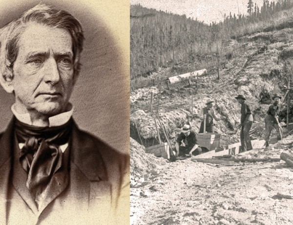 William Seward concocted his land grab plan while he was the senator from New York (left). Although prospectors found gold in Alaska as early as 1861, the great Klondike Gold Rush, where these four placer miners tried their luck, didn't kick off until 1896. – Courtesy Library of Congress –