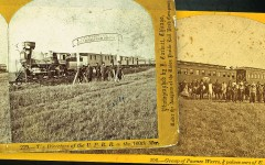 In October 1866, Union Pacific Railroad President Thomas C. Durant organized a special excursion to take more than  200 dignitaries from New York City to celebrate the transcontinental railroad's progress across Nebraska Territory. He had a  special gateway built at the 100th Meridian, where hired Pawnee Indians entertained his guests, one of  whom was future president Rutherford B. Hayes. – John Carbutt, Courtesy Library of Congress –