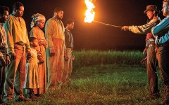 Hard to tell which  side Cato (Alano Miller) is on when he menaces some of the other Macon 7 slaves with a fire torch in Season One of the excellent Underground series. His cautionary tale against escaping, however, has a surprising twist for his two white overseers. Season Two, premiering on March 8, follows the Macon 7 heroes on their harrowing journey  to freedom.  – All Underground photos courtesy WGN America –