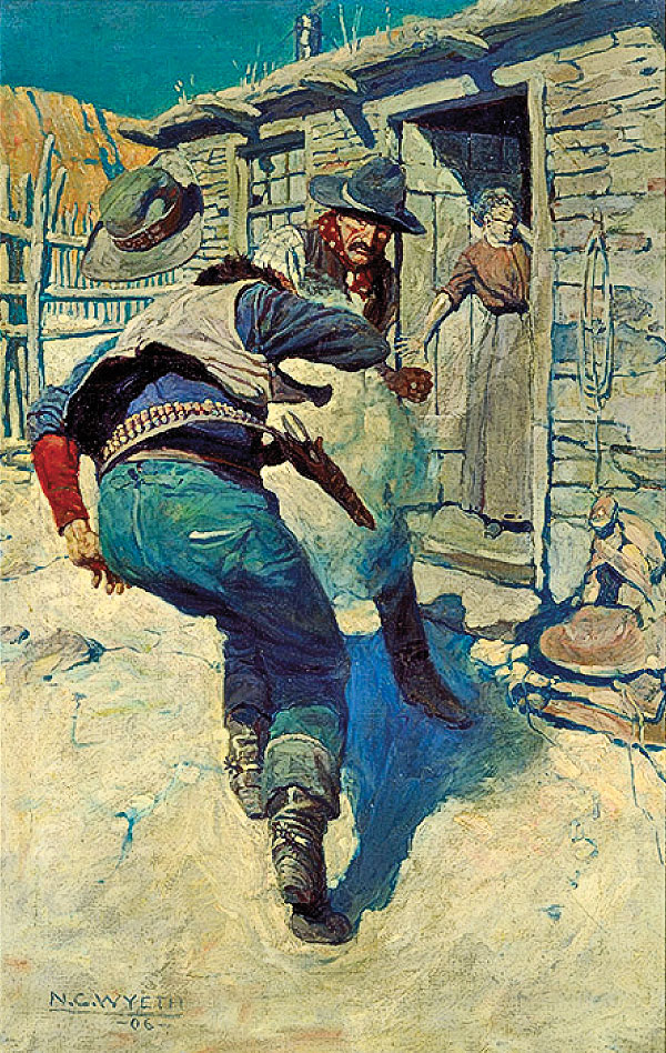 – Artwork shown: At the Same Time Hahn Pulled His Gun and Shot Him through the Middle, oil, 1906, by Newell Convers Wyeth –