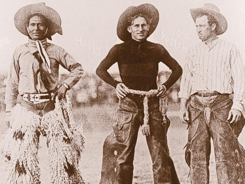 Champions-of-the-World,-Pendleton-Oregon-Round,-1916—Jackson-Sundown,-Broncho-Bob-Hall,-and-Rufus-Rollins.----2001.032