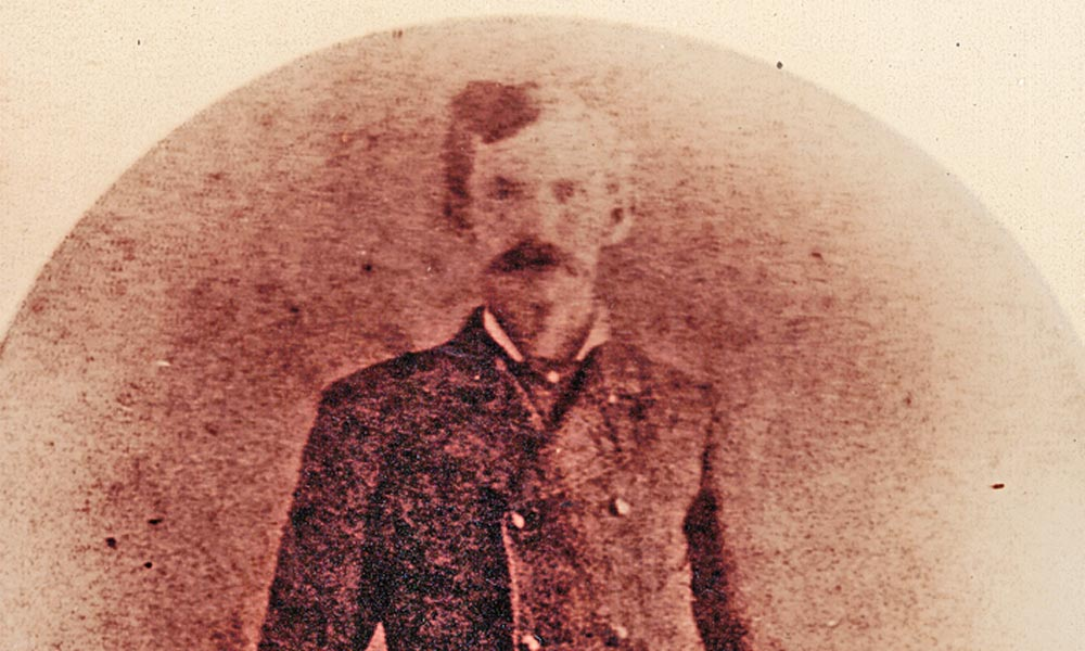 Doc Holliday stood for his portrait during one of his two tenures living in Prescott, Arizona Territory, between November 1879 and August 1880. After his final time in Prescott from May to August, the Georgia gambler caught the stage south to Tombstone—and destiny with the Earps. – Courtesy True West Archives –