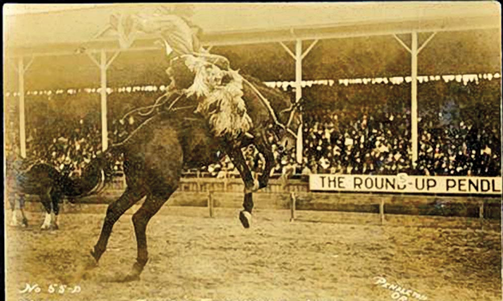Photographed circa 1910, Jackson Sundown almost called it quits when he earned third place at the Pendleton Round-Up in 1915. Good thing he didn't give up. His ride on the savvy outlaw bronco Angel (above) helped him earn the coveted silver saddle the next year. – 1910 photo courtesy Buck Wilkerson Collection, R.255.04; 1916 photo courtesy Photographic Study Collection, 2005.213 –