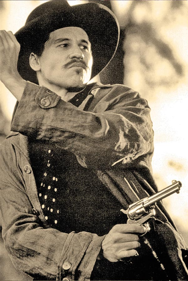 """""""Kilmer's Doc Holliday Steals the Show in Tombstone"""" was the headline in the Orlando Sentinel newspaper. Variety agreed: """"...it's Kilmer who delivers the standout performance, giving fresh shadings to the lethal but humorous Doc Holliday."""" – All Tombstone photos Courtesy Buena Vista Pictures –"""