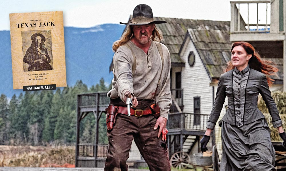 Country music superstar Trace Adkins (center) took on the role of real-life 19th-century outlaw Nathaniel Reed (inset) in Stagecoach: The Texas Jack Story. Reed led a bandit gang that primarily robbed stagecoaches, trains and banks in the Rocky Mountains and Indian Territory. – Adkins photo Courtesy Nasser Entertainment; Reed photo published in the Life of Texas Jack , Tulsa Printing Company –
