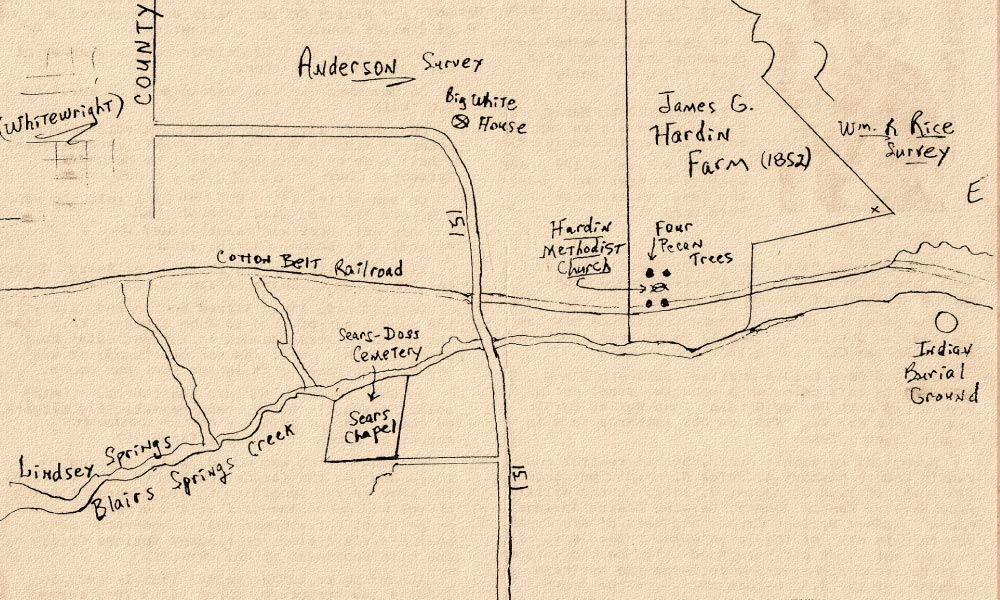 This map shows the exact spot where the Rev. James G. Hardin's farm was located. Within the square of Pecan trees was an early-day Methodist church that also served as a school and living quarters for the Hardin family.
