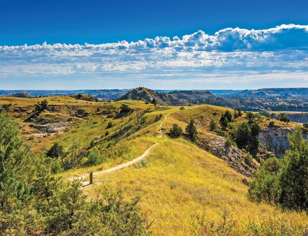 The South Unit entrance of Theodore Roosevelt National Park is located in Medora, and is the perfect place to start down the  trail of the 26th president's life in North Dakota's Badlands of the Little Missouri River. – Courtesy NPS.gov –