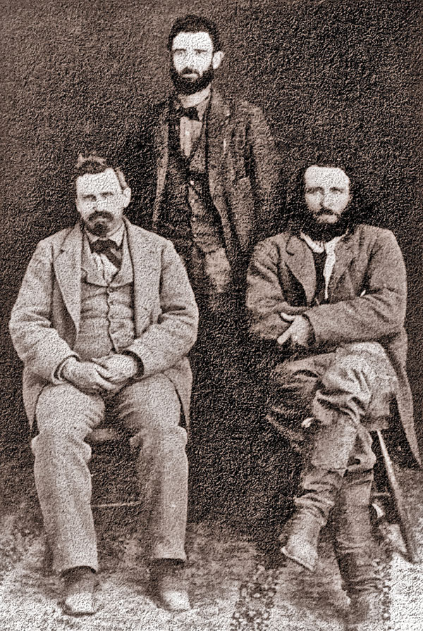 Tombstone Silver Prospectors: Al Schieffelin stands behind his brother Ed and Richard Gird (from right). – True West Archives –