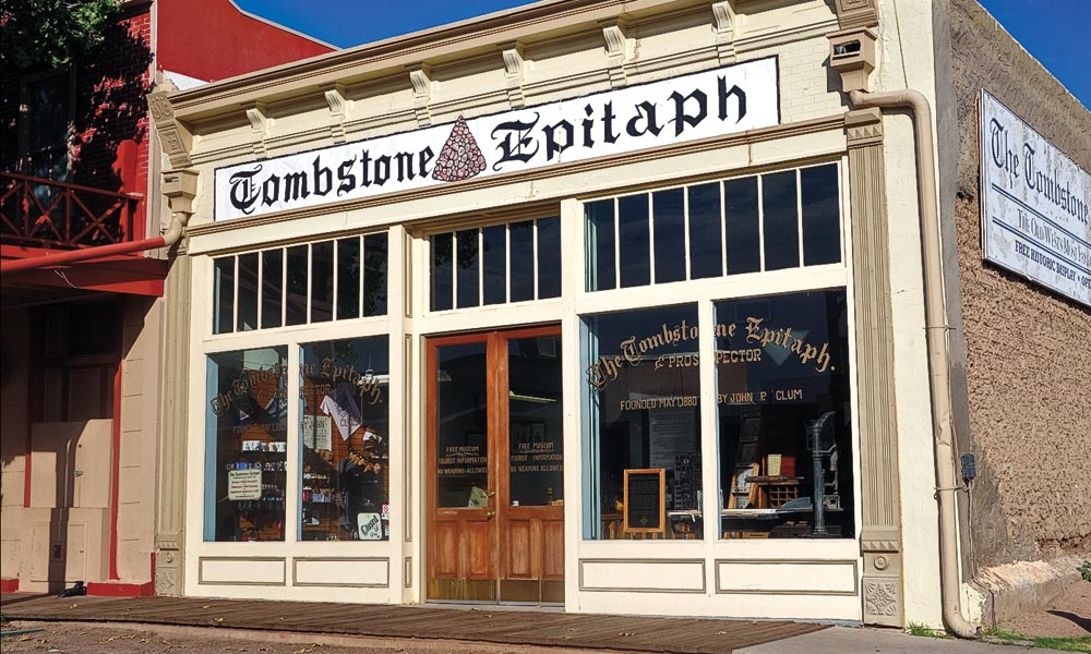 Territorial entrepreneurs were attracted to Tombstone's booming silver camp, including former Indian Agent John Clum, who founded The Tombstone Epitaph in the spring of 1880. Today, it is the oldest continuously published newspaper in Arizona. – Courtesy Cochise County Tourism –