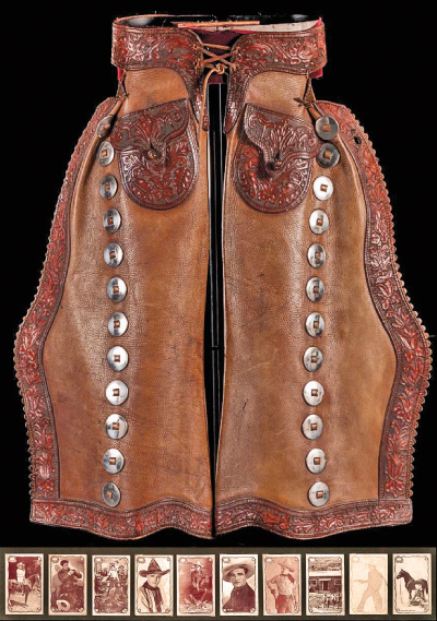 Western movie actor Tom Mix's personal batwing chaps and framed carnival cards topped the celebrity lots at the auction, with a $17,000 bid.