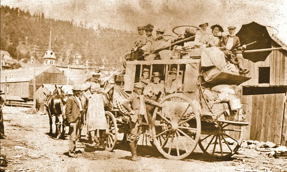 Whatever class of ticket these pioneers had, they faced a tough journey while traveling on this stagecoach from Deadwood, Dakota Territory, circa 1880. – All images True West archives –